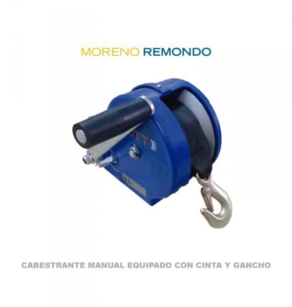 Cabestrante manual equipado con cinta y gancho